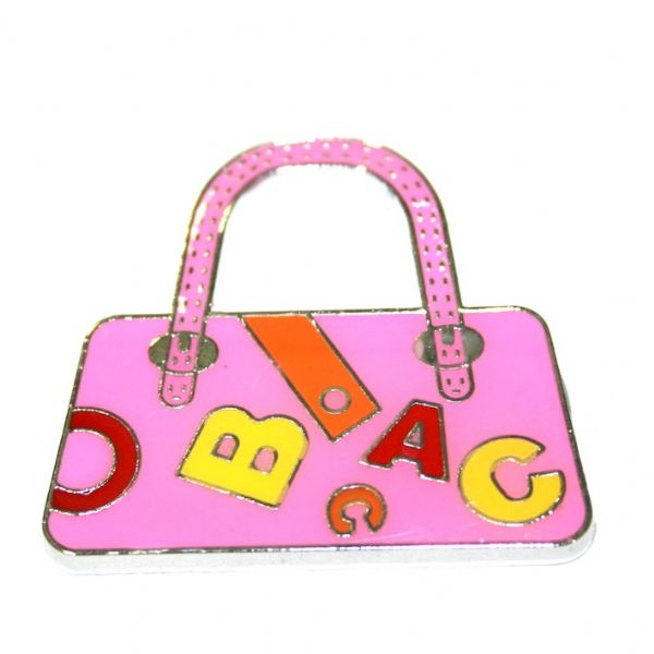 1pce x 24*22mm Rhodium plated pink handbag with letters enamel charm - SD03 - CHE1105